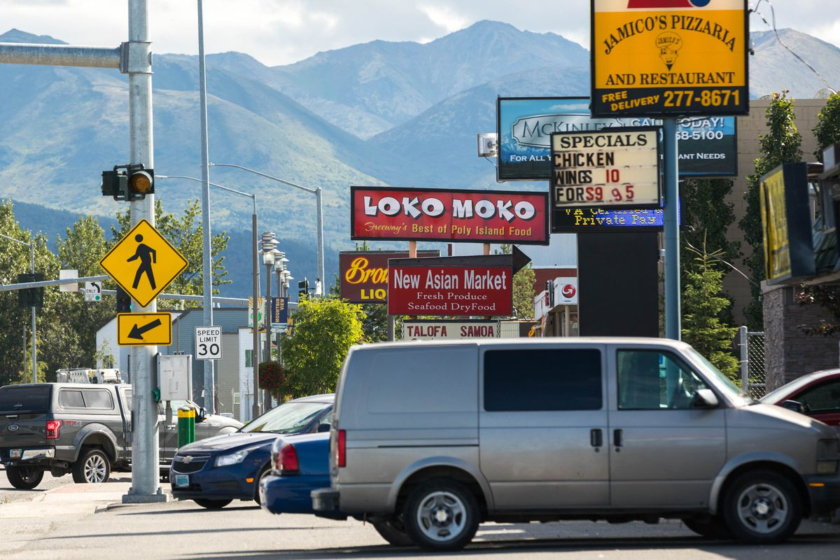 Restaurants and shops along Mountain View Drive. According to UAA sociology professor Chad Farrell, the census tract that includes the Mountain View neighborhood is the most diverse in the nation. (Loren Holmes / Alaska Dispatch News)