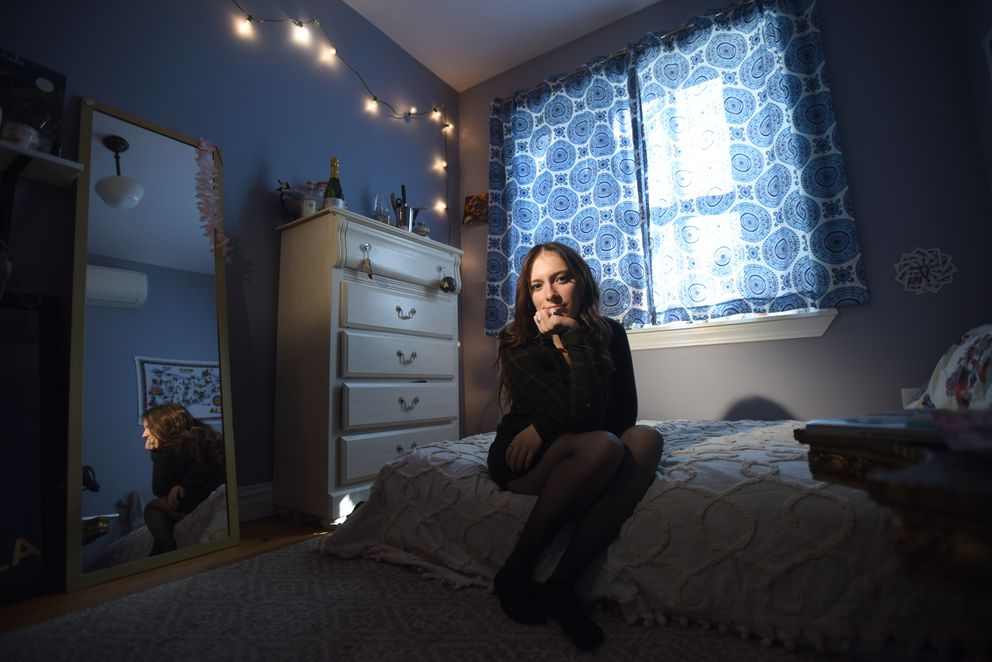 Marisa Licandro, at her home in Brooklyn, alleges that a fellow student who worked with her at a campus-run restaurant attempted to rape her. (Photo by Jennifer S. Altman for The Washington Post)