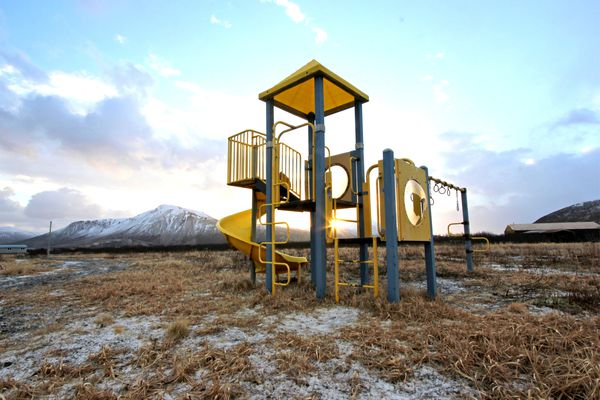 Playground equipment in False Pass.