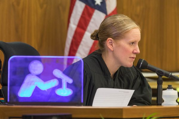 Judge Jennifer Henderson presides over a hearing for a change of plea hearing and sentencing for Jin Bong So, Wednesday, Dec. 7, 2016 at the Boney Courthouse in Anchorage. So pled guilty to charges stemming from an incident over the summer where he shot an air gun at a neighbor's dog who was barking. (Loren Holmes / Alaska Dispatch News)