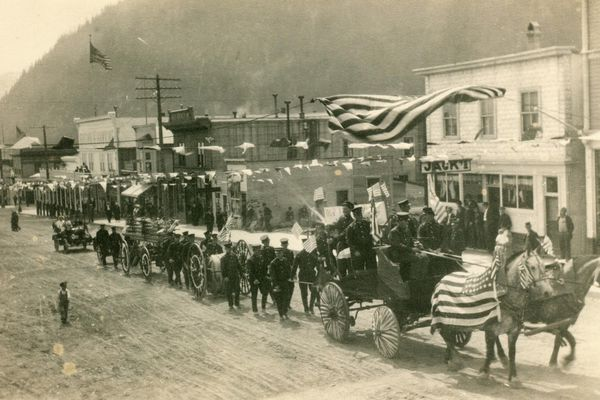 Although listed circa 1910, this gives an idea what the parade looked like in Seward on July 4, 1917. (Resurrection Bay Historical Society)