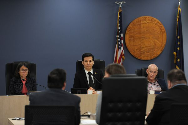 The Alaska House Finance Committee met in the Anchorage Legislative Information Office on Monday morning, July 15, 2019. Representatives Jennifer Johnston, R-Anchorage, left, and Neal Foster, D-Nome, center, are co-chairs. Rep. Dan Ortiz, Non Affiliated-Ketchikan, is at right. (Bill Roth / ADN)