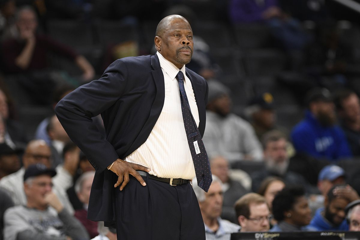 FILE - In this Wednesday, Feb. 5, 2020, file photo, Georgetown head coach Patrick Ewing looks on during the first half of an NCAA college basketball game against Seton Hall, in Washington. In a statement issued by Georgetown on Friday, May 22, 2020, Ewing has tested positive for COVID-19. (AP Photo/Nick Wass, File)