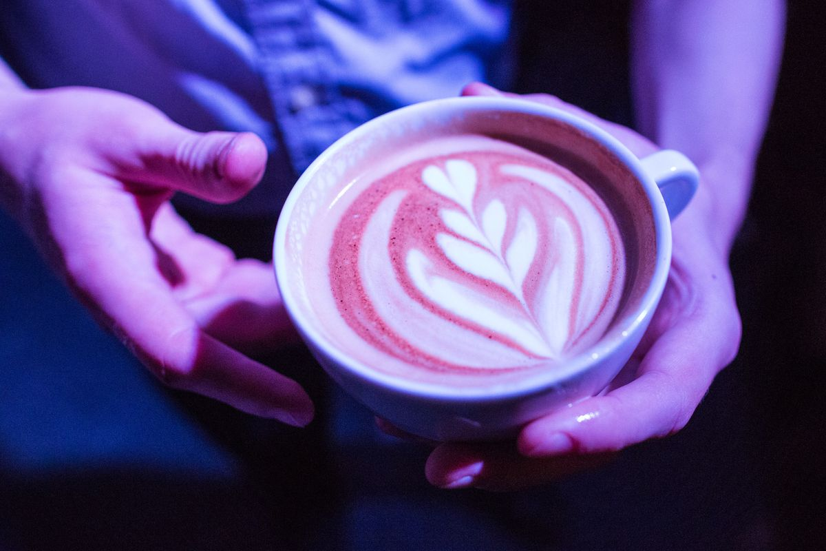 O'Malley Steam Dot manager Jeff Dow's winning entry in the latte art competition during the Alaska Barista Cup at Anchorage Community Works on Saturday, October 3, 2015. (Loren Holmes / ADN)