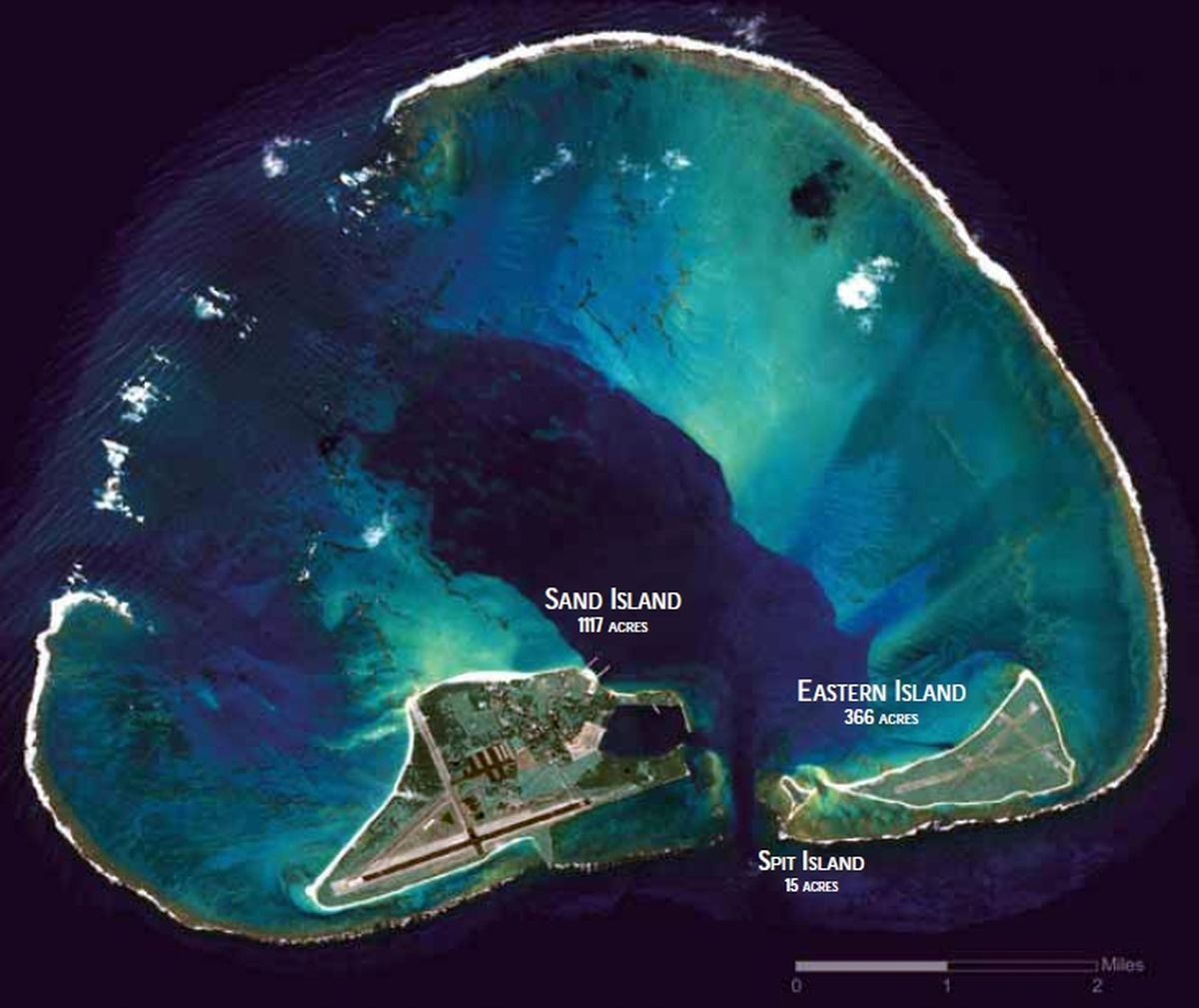 An aerial photo of Midway Atoll. (Wikimedia Commons)