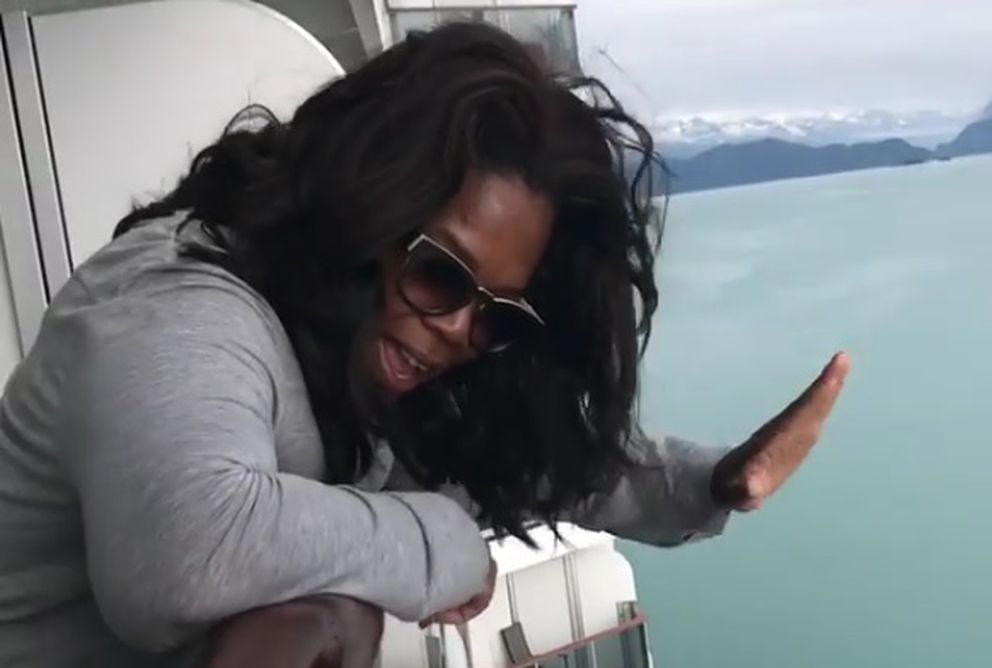 Oprah waves from aboard a cruise ship near Juneau in a video posted to her Instagram account July 18, 2017.