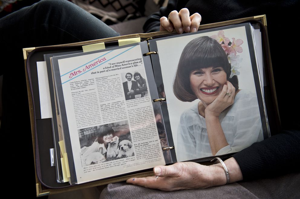 Cindy Roberts keeps a magazine article from her time as Mrs. America, she won in 1978. Photographed on March 2, 2018. (Marc Lester / ADN)