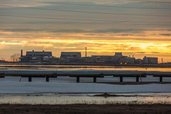 Prudhoe Bay's Flow Station 1 on Thursday, May 21, 2015. The flow station separates oil, gas and water, sending each component to other facilities for further processing. (Photo by Loren Holmes / ADN)