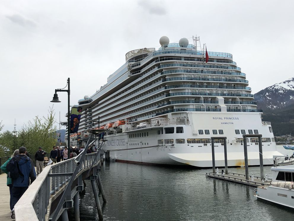 The Princess Cruise Lines cruise ship Royal Princess is seen in Juneau on Tuesday, May 14, 2019, after the trip from Ketchikan during the ship's inaugural trip to Alaska. (James Brooks / ADN)