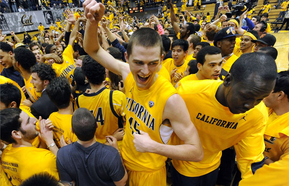 California's David Kravish (45) center, celebrates with his teammates and Cal fans after winning the game against the University of Oregon, 58-54, at Haas Pavilion in Berkeley, California, Saturday, February 2, 2013. (Doug Duran/Contra Costa Times/MCT)