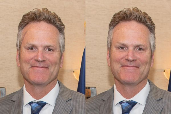In a photo crop at left, an unaltered photo of Gov. Mike Dunleavy provided by Dunleavy's office on Oct. 1. The crop at right shows the altered version released by the governor's office on July 31. (Photos provided by the office of Gov. Mike Dunleavy)