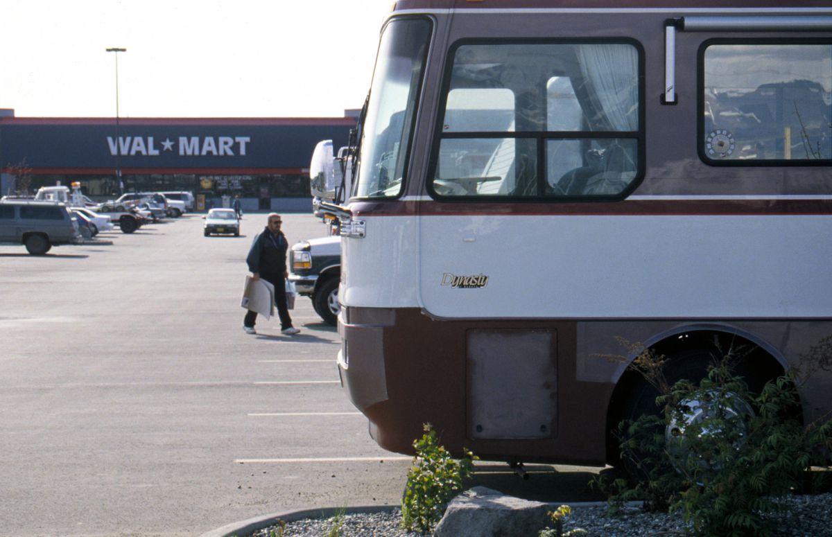 RV owners camp in the WalMart parking lot near Dimond Center. (Bob Hallinen / ADN archive 1996)