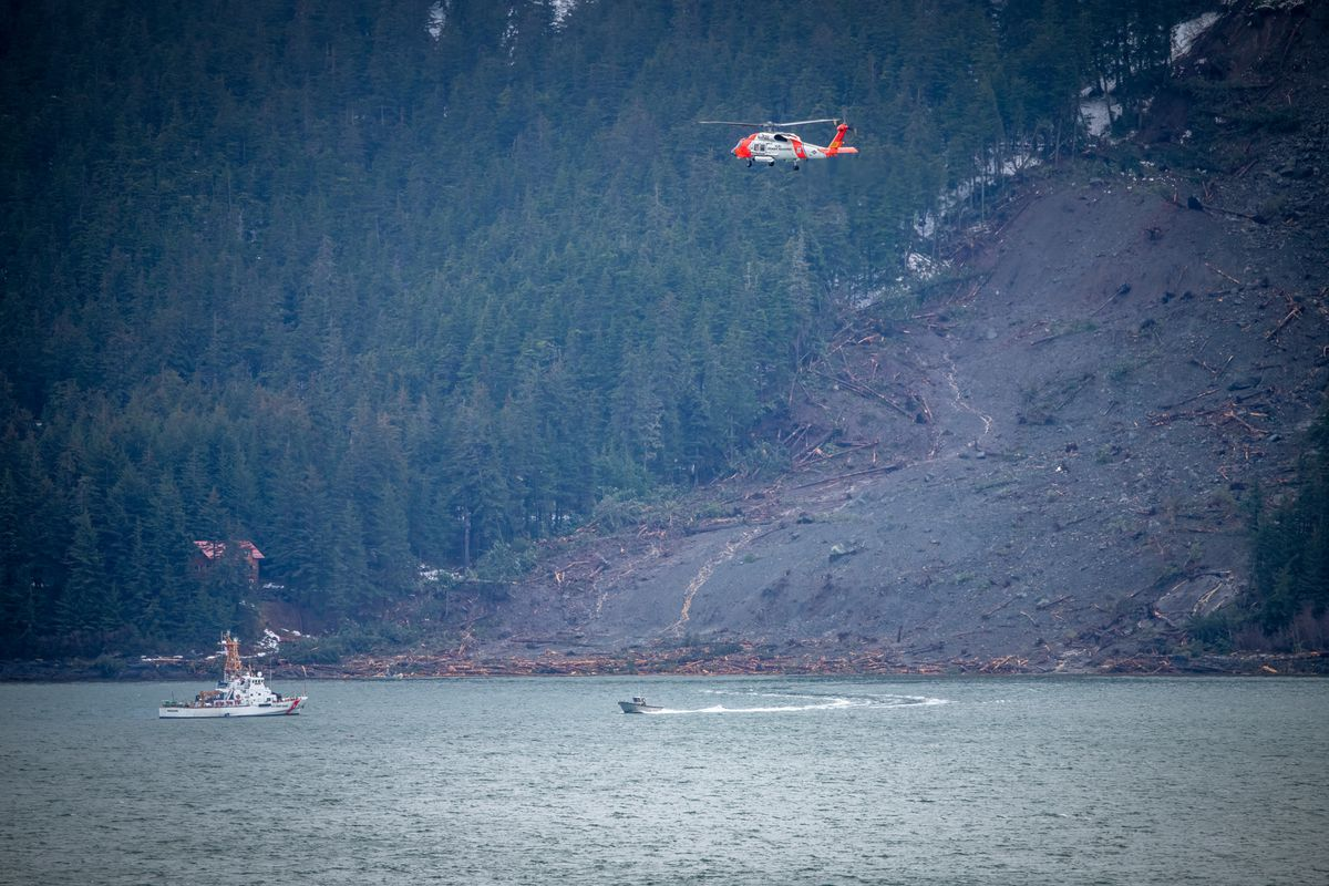 Search efforts were underway near the location of a landslide near Haines on December 3, 2020. (Tom Ganner photo)