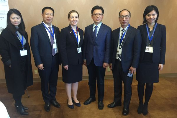 Officials with the Chinese government and Bank of China discussed the $43 billion Alaska LNG project and other issues on Jan. 23, 2018, at an Anchorage conference on trade between Alaska and its top trading partner, China. Pictured from left to right are Mengyuan Hao,Raymond Qiao, Lieza Wilcox, with Alaska Gasline Development Corp., Faqiang Ren, Yihang Yang and Ying Shen. (Alex Demarban / ADN)