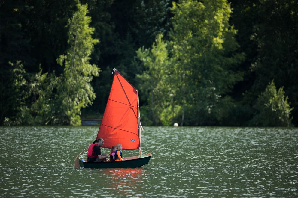 People sail on Mirror Lake Friday, Aug. 3, 2018. (Loren Holmes / ADN)