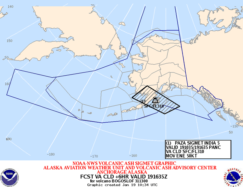 A National Weather Service graphic shows the location of an ash cloud (in black) from an eruption of Bogoslof volcano in the Aleutians as of 1:34 a.m. Alaska time on Thursday, Jan. 19, 2017.