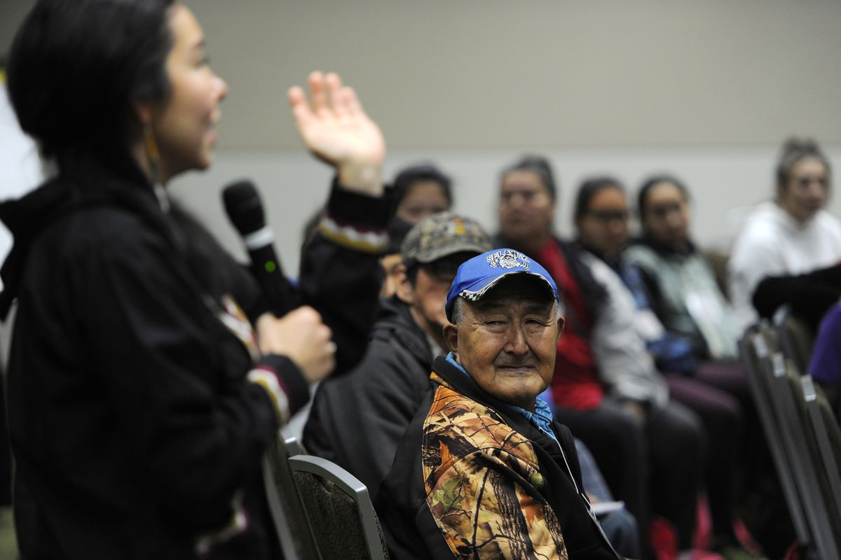 The First Alaskans Institute kicked off their 34th annual Elders and Youth Conference at the Dena'ina Civic and Convention Center with a Warming of the Hands Pre-Conference on Sunday, Oct. 15, 2017. (Bill Roth / Alaska Dispatch News)