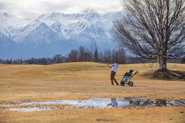 Derek O'Neill plays golf at the Palmer Golf Course on Friday, March 29, 2019. The earliest opening day for the course was March 6, 2016, according to manager George Collum. (Loren Holmes / ADN)