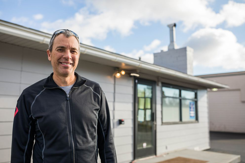 Bryant Thorp, owner of Arctic Herbery, outside his retail marijuana store on Arctic Boulevard in Anchorage on Oct. 4. (Loren Holmes / Alaska Dispatch News file)