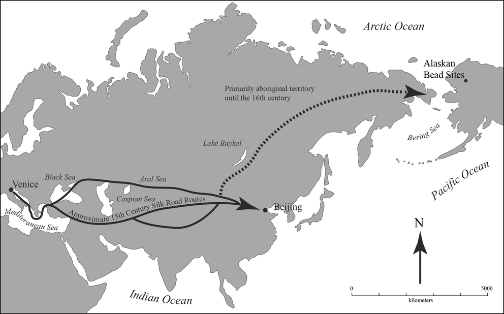"""A possible route of small glass beads from the city of Venice to prehistoric house sites in northern Alaska. (Photo courtesy January 2021 paper """"A Precolumbian Presence of Venetian Glass Trade Beads in Arctic Alaska,"""" in the journal American Antiquity, by Michael Kunz and Robin Mills.)"""