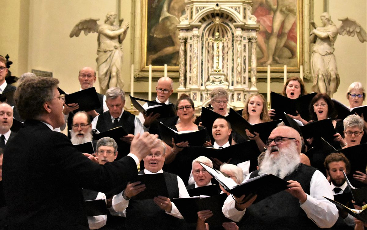 The Anchorage Concert Chorus tour chorus performs in Pordenone, Italy, during a tour of the country in 2018. (Photo by Cindy Crewdson)