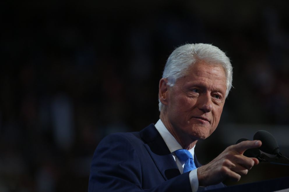 Former President Bill Clinton speaks on the second day of the Democratic National Convention at the Wells Fargo Center in Philadelphiaon Tuesday. (Damon Winter / The New York Times)