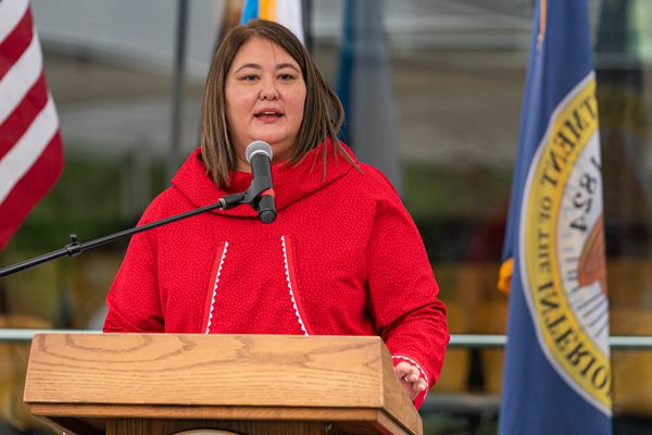 Department of the Interior Assistant Secretary for Indian Affairs Tara Sweeney speaks during an event celebrating the opening of an Indian Affairs Cold Case Office on Wednesday, Aug. 26, 2020 at the Alaska Native Heritage Center in Anchorage. (Loren Holmes / ADN)