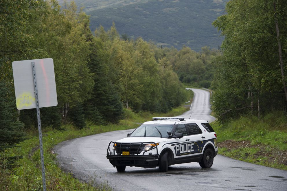 Anchorage Police close Campbell Airstrip Road on Monday, August 22, 2016, due to a death investigation. (Marc Lester / Alaska Dispatch News)