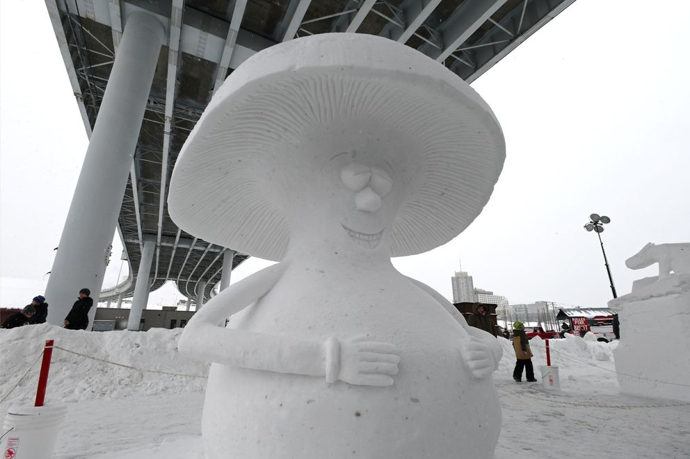 'The Happy Mushroom ' by Nathan Turnbull in the solo division during the Alaska State Snow Sculpture Championship at Fur Rondy on Sunday, March 1, 2020. (Bill Roth / ADN)