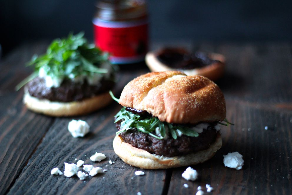 Burgers topped with fig jam, goat cheese and arugula (Maya Wilson / Alaska from Scratch)