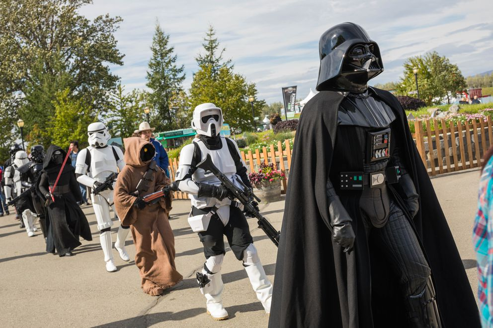 Members of the Aurora Borealis Alaskan Outpost, a Star Wars cosplay group, walk through the Alaska State Fair on Wednesday, Aug. 30, 2017. (Loren Holmes / Alaska Dispatch News)