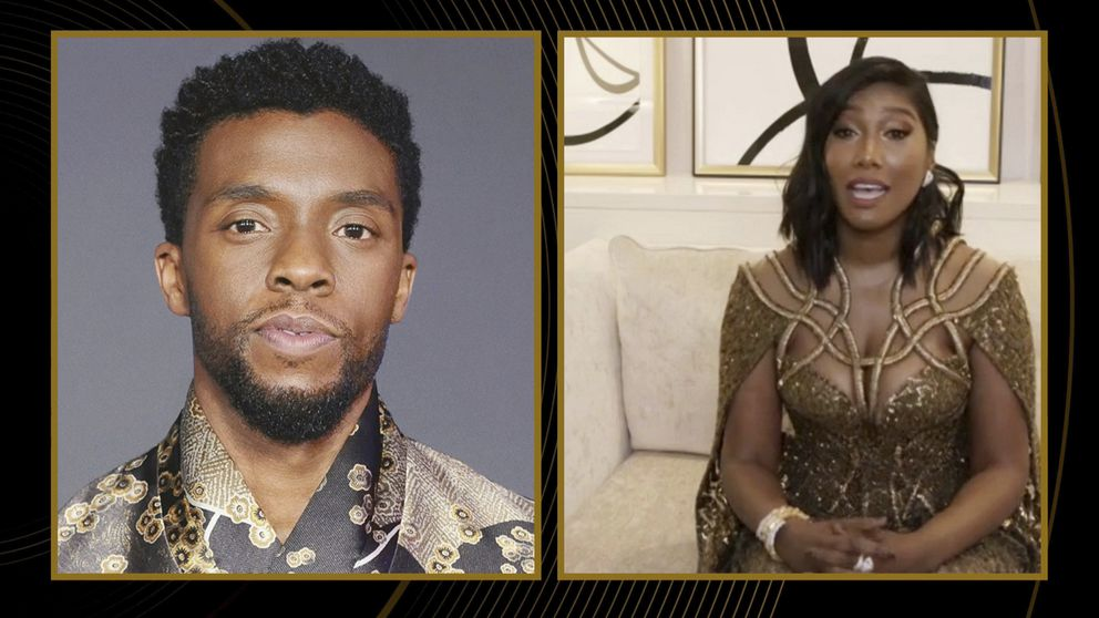 In this video grab issued Sunday, Feb. 28, 2021, by NBC, Taylor Simone Ledward Boseman, right, accepts the award for best actor in a motion picture drama for 'Ma Rainey's Black Bottom ' on behalf of her late husband Chadwick Boseman, pictured on Screen at left, at the Golden Globe Awards. (NBC via AP)