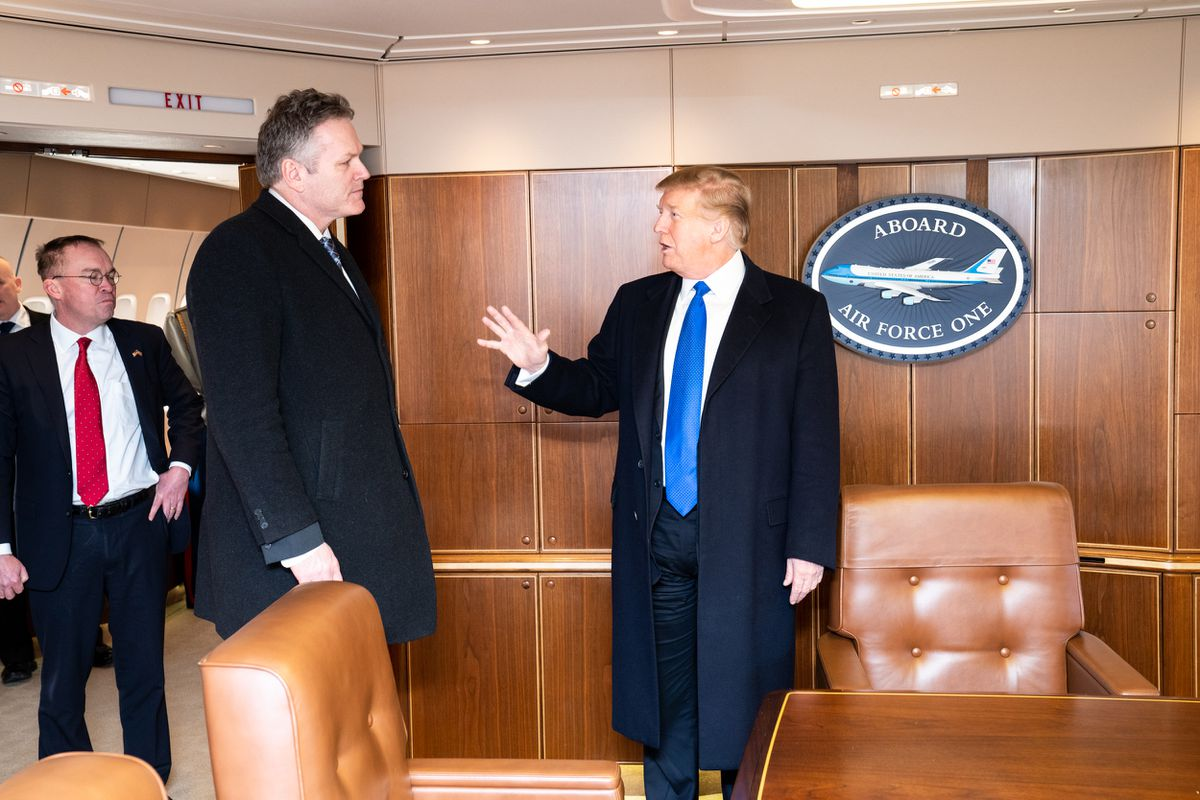 Gov. Mike Dunleavy meets with President Trump aboard Air Force One during a stop at Joint Base Elmendorf-Richardson, Feb. 28, 2019 (Photo by Shealah Craighead / White House)