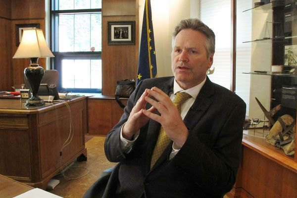 Alaska Gov. Mike Dunleavy speaks to reporters in his office at the state Capitol on Wednesday, May 29, 2019, in Juneau, Alaska. On Thursday, May 30, 2019, Dunleavy has removed three members of Alaska's human rights commission, further changing it following a social media uproar that put the commission in the spotlight. Dunleavy spokesman Matt Shuckerow says Christa J. Bruce-Kotrc, Megan Mackiernan and Kathryn Dodge are being replaced. (AP Photo/Becky Bohrer, File)