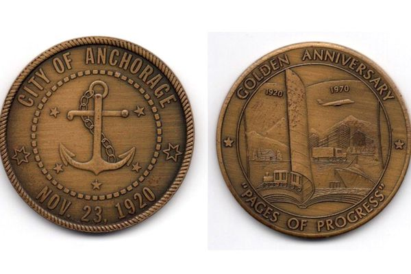 A1970 medallion commemorates Anchorage's first 50 years. (Photos by David Reamer)