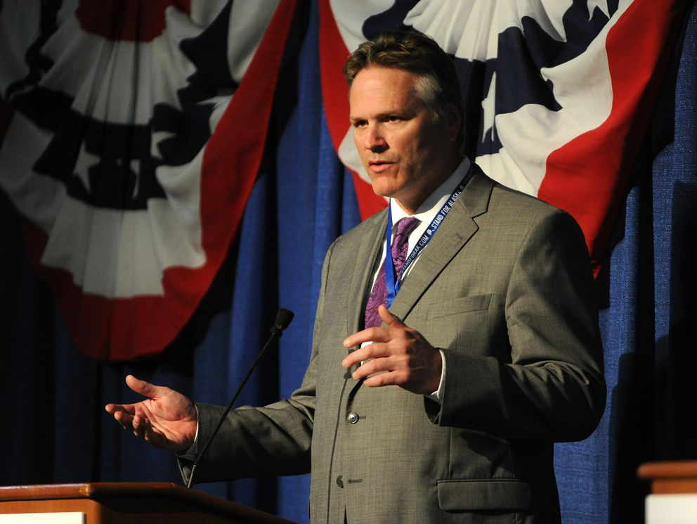 Sen. Mike Dunleavy speaks at the Alaska Oil and Gas Association's governors debate at the Dena'ina Center in Anchorage, AK on Thursday May 31, 2018. (Bob Hallinen / ADN)