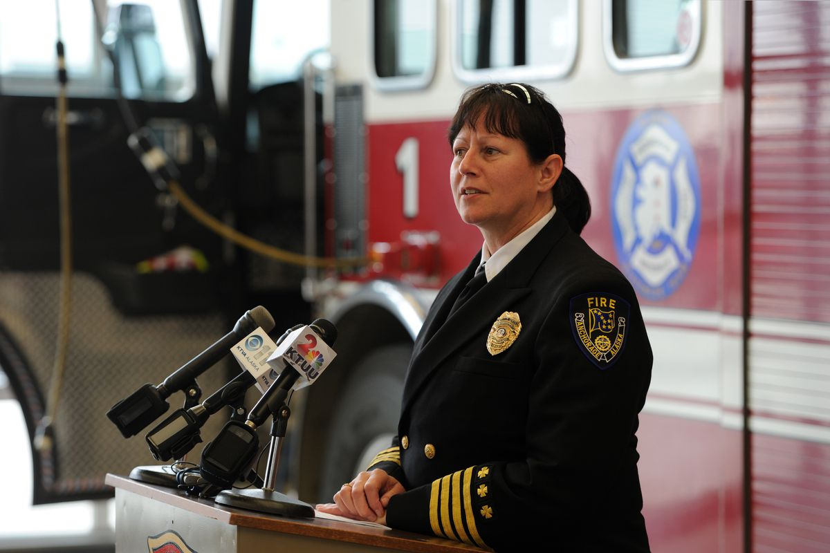 AFD Deputy Chief of Operations Jodie Hettrick said during a press conference on Tuesday that firefighter/paramedic Ben Shultz, 29, sustained a critical injury when training at a fire station on Monday afternoon. (Bill Roth / Alaska Dispatch News)​