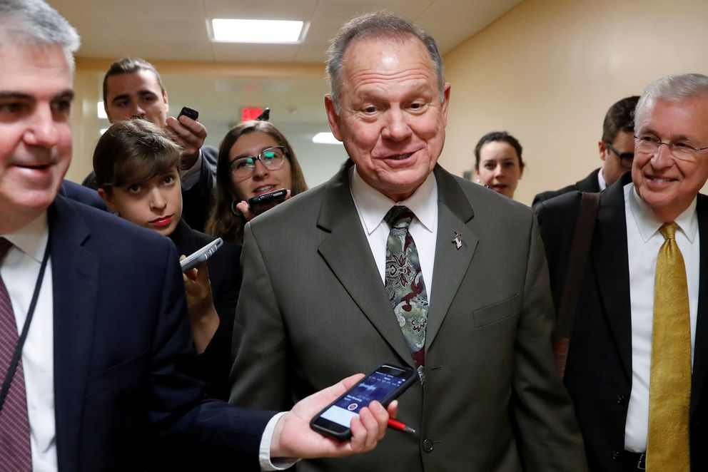 FILE: Alabama Republican candidate for U.S. Senate Roy Moore speaks with reporters as he visits the U.S. Capitol on October 31, 2017. REUTERS/Jonathan Ernst