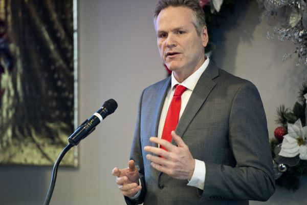 Gov. Mike Dunleavy spoke during a Commonwealth North lunch event at the Petroleum Club of Anchorage on January 15, 2019. (Marc Lester / ADN)