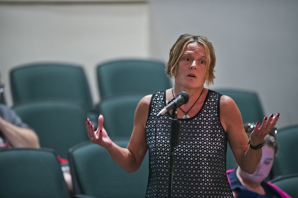 Renee Bond makes comments to the Anchorage Assembly members. Anchorage Assembly members host a forum at the Loussac Library to take public comment on the mayor's recent emergency declaration on July 25, 2019. (Marc Lester / ADN)