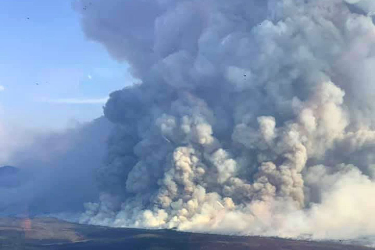 An aerial view of the Swan Lake fire on Aug. 26, 2019. The Swan Lake fire — which burned over 160,000 acres on the Kenai Peninsula and was fueled by record-breaking hot, dry weather over the summer — was the most expensive in Alaska history. (Alaska Fire Services)