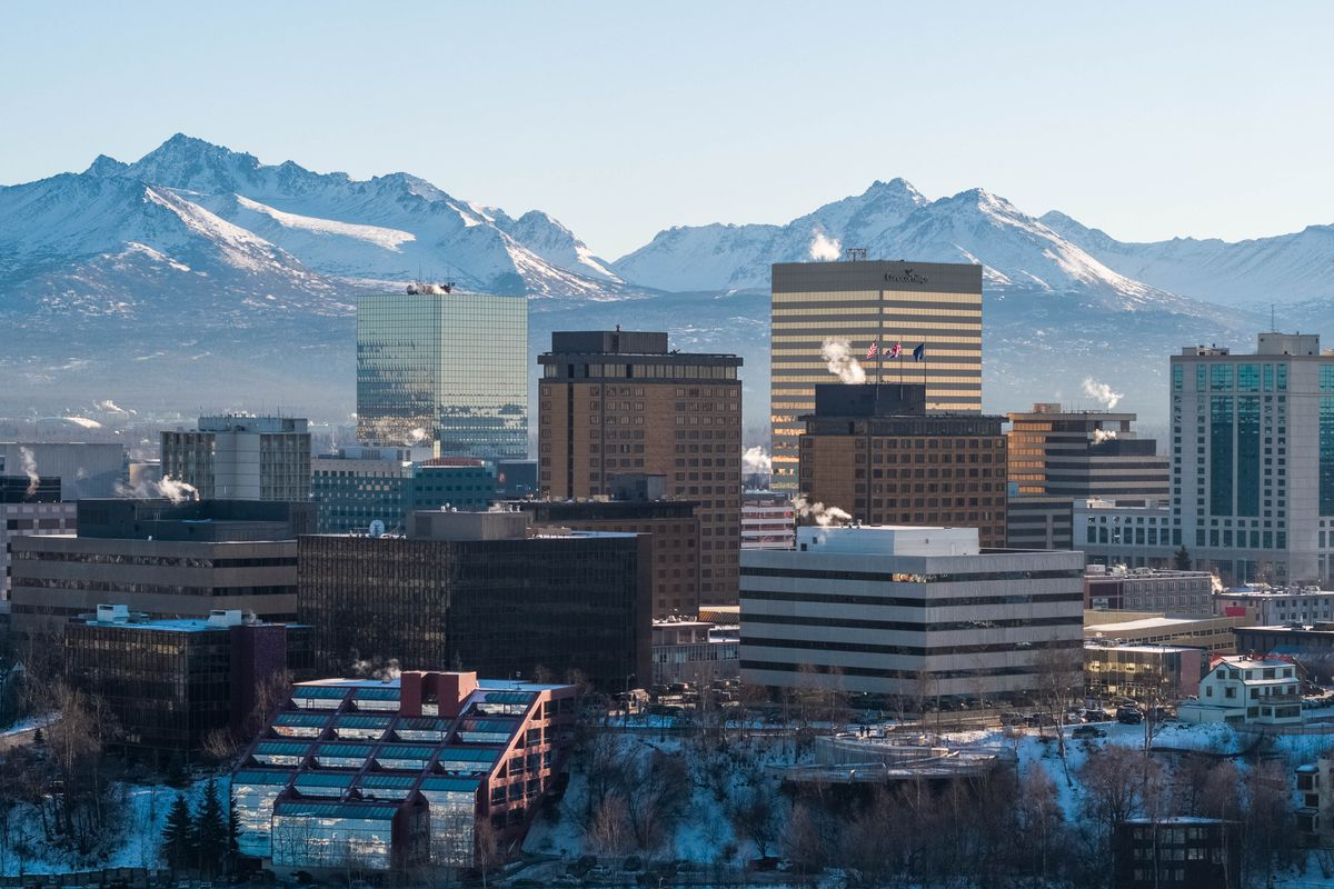 An aerial view of downtown Anchorage. (Loren Holmes / ADN)