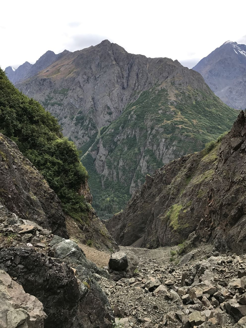 Looking south toward The Mitre from Stivers Gully, near the spot where I spent the night on Monday. (Vicky Ho / Alaska Dispatch News)