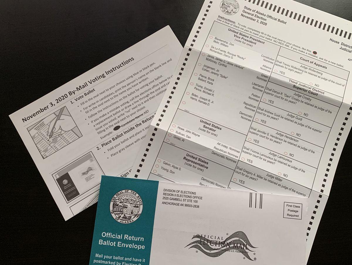 An absentee ballot for the 2020 Alaska general election. (ADN)