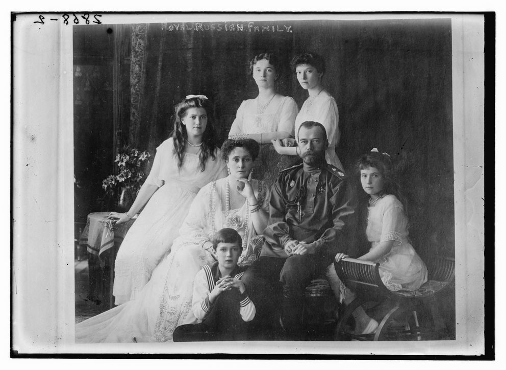 Photo shows members of the Romanovs, the last royal family of Russia including: seated, FROM LEFT, Marie, Queen Alexandra, Czar Nicholas II, Anastasia, Alexei (front), and standing (left to right), Olga and Tatiana. must credit: George Grantham Bain Collection, Library of Congress