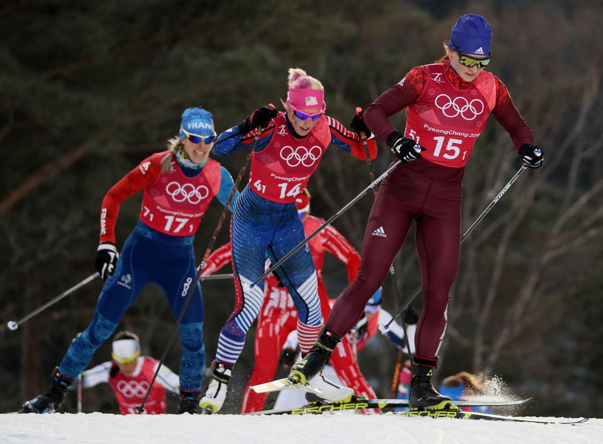 Anchorage's Kikkan Randall, center, sticks with leader Natalie Nepryaeva an Olympic Athlete from Russia during the women's team sprint at the Winter Olympics. Randall and Jessie Diggins of Minnesota won the race to become the first America women to capture Olympic medals. (Soobum Im / USA TODAY Sports)