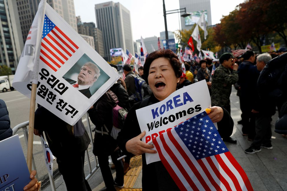 Supporters of President Trump rally in central Seoul, South Korea. REUTERS/Kim Kyung-Hoon