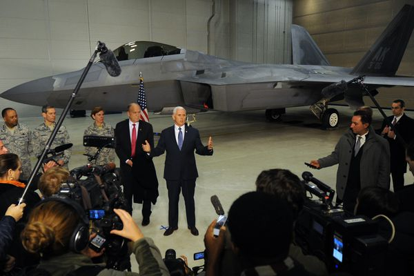 Vice President Mike Pence held a press conference in an F-22 hangar during a refueling stop at JBER on Monday, Feb. 5, 2018, where he met with military leaders and Gov. Bill Walker while on his way to the Winter Olympics in Pyeongchang, South Korea. (Bill Roth / ADN)