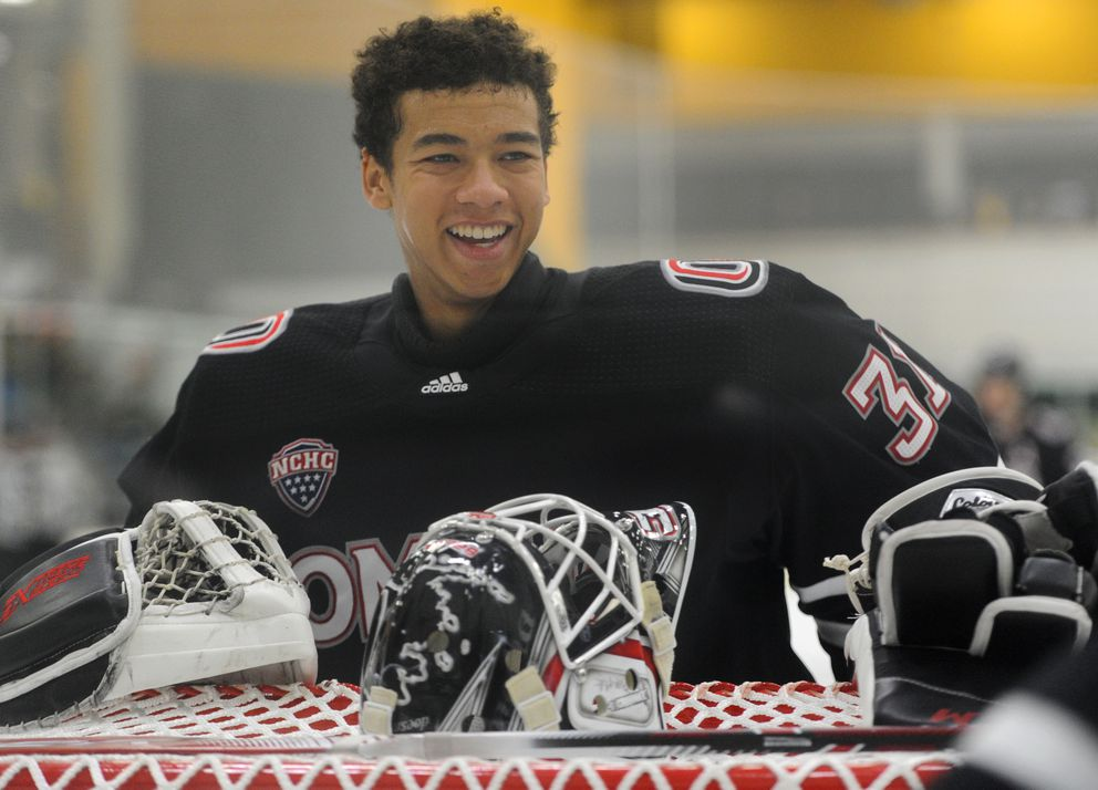 Former West Eagles goaltender Isaiah Saville was in net for the Omaha Mavericks during their 4-3 victory over the UAA Seawolves on Thursday, Oct. 31, 2019. (Bill Roth / ADN)
