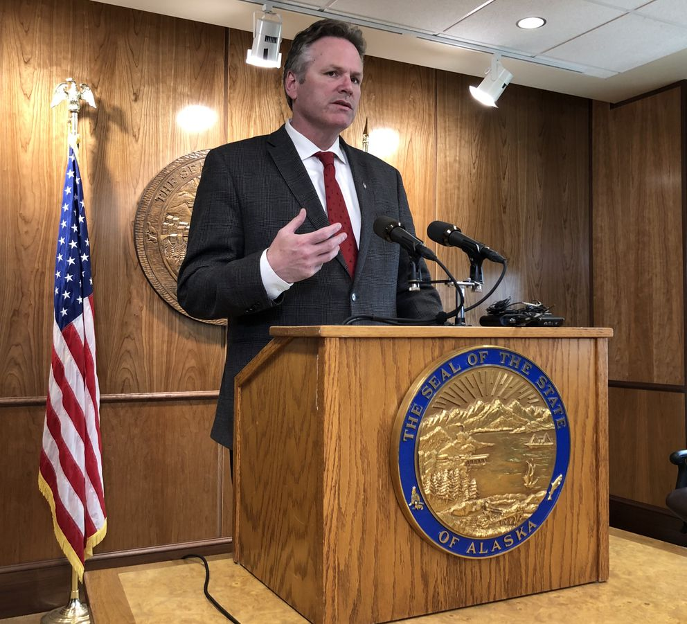 Alaska Gov. Mike Dunleavy speaks during a press conference about education funding and anti-crime legislation Tuesday, May 28, 2019. (James Brooks / ADN)